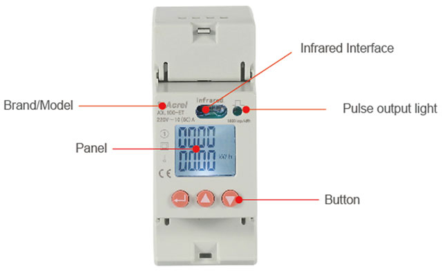 Rail mounted single phase AC power meter LCD display ADL100-ET